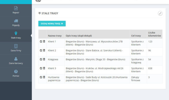 Stałe trasy w aplikacji kilometrowka-online.pl